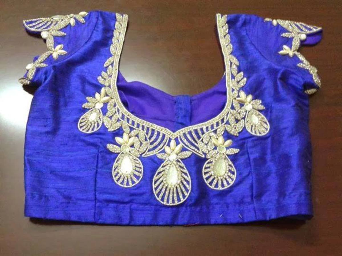 Blue designer blouse.