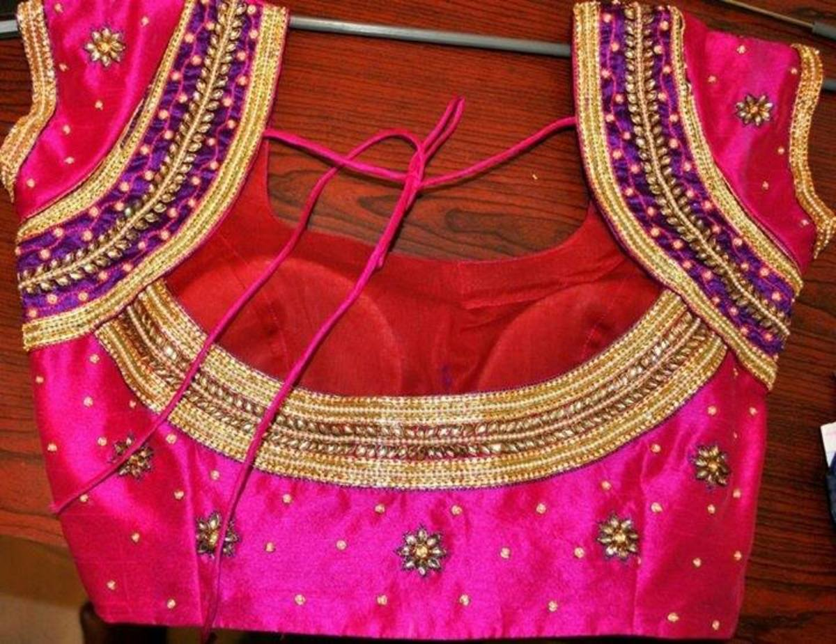 Choli blouse design with foam cups attached.