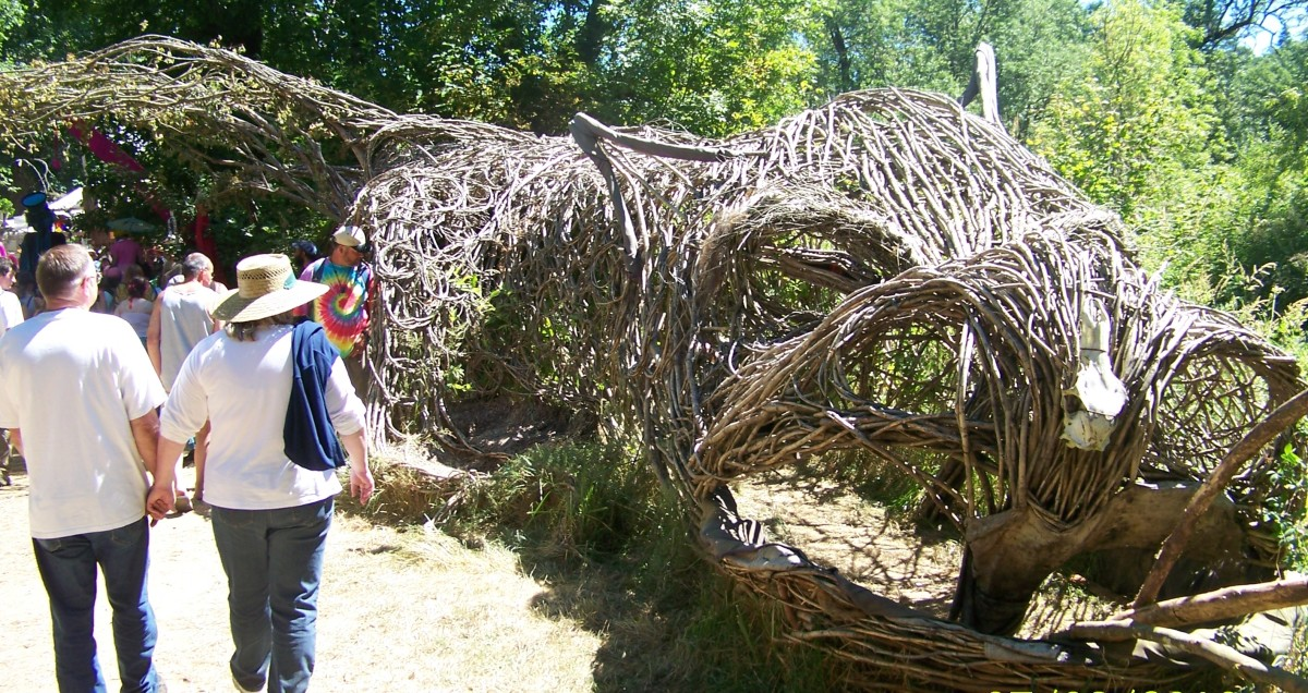 This dragon made of tree branches is much more impressive in person than in the photo.