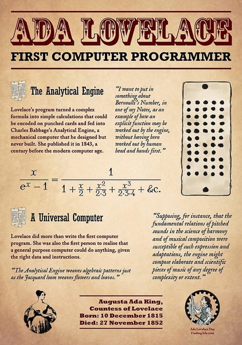 Poster describing Ada Lovelace's achievements