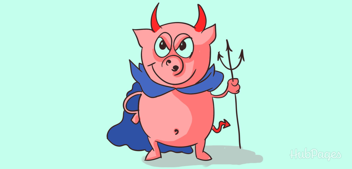In some Christian art folklore, Satan is portrayed as having cloven hooves, snout, or curly tail like a pig.