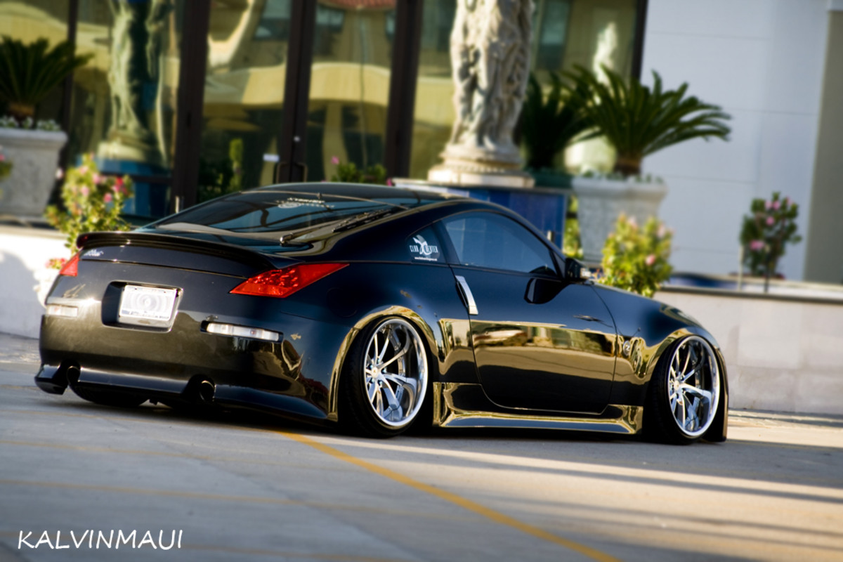 This is a great example of a stanced vehicle. This Nissan 350Z looks great! As you will notice, the wheel rim sits almost flush with the fender.