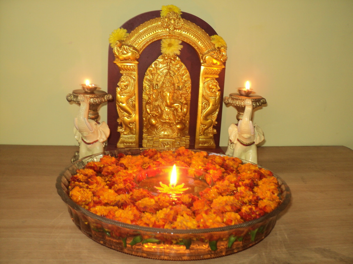 The way of lighting a lamp/deepam with combining water and oil