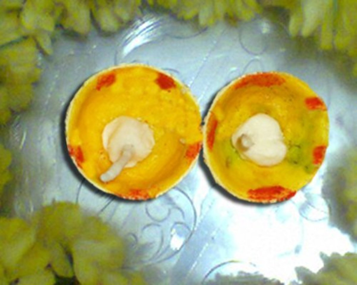 Lemon Diya with cotton wick