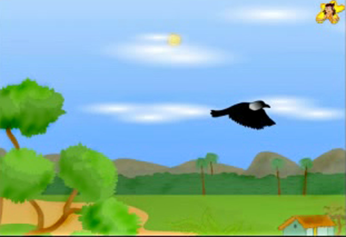 The thirsty crow flies home.