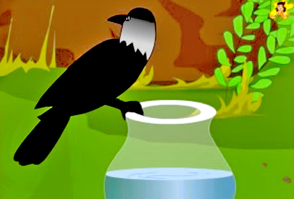 The thirsty crow looks around for inspiration.