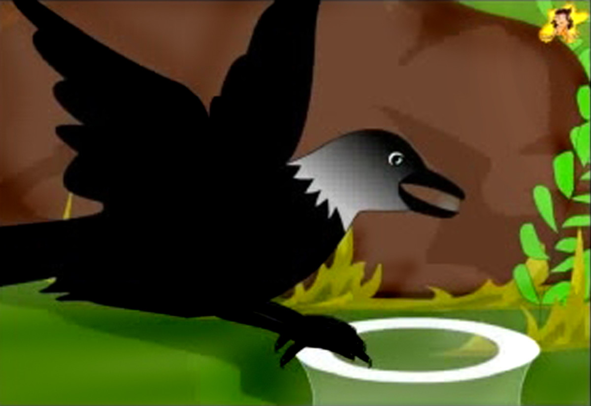 The thirsty crow drops pebbles into the pot