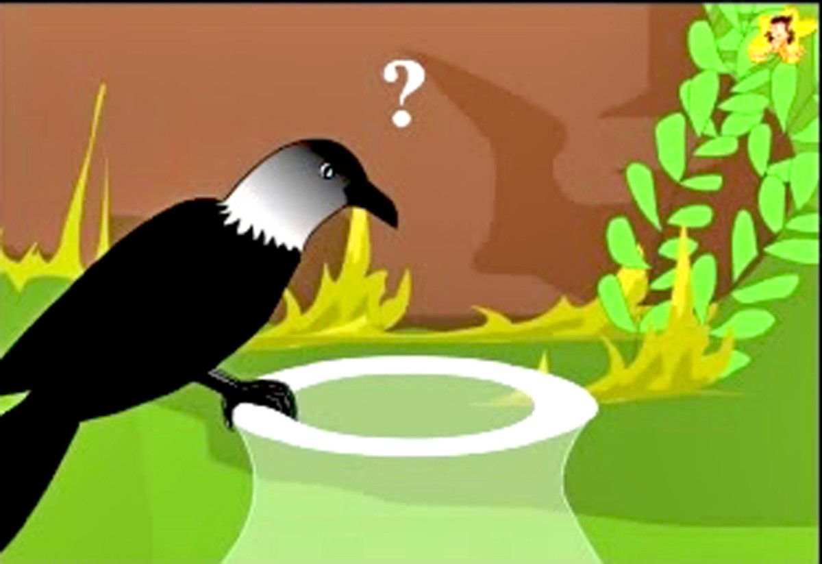 The thirsty crow ponders over its problem.