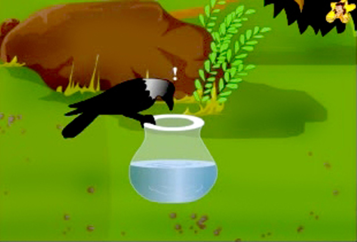 The thirsty crow finds the water, but it's too low in the pot.