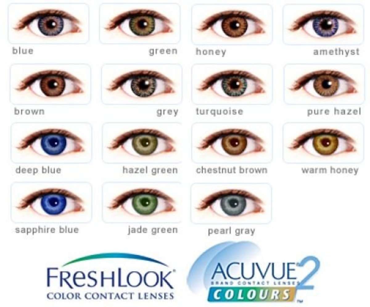Freshlook and Acuvue 2 Colored contact lens chart.