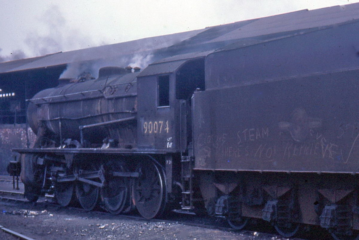 Robert Riddles' WD 2-8-0 in BR days, 90074 at West Hartlepool mpd in steam's Indian Summer,  1967 (90074 was by this time a visitor in the area, and the last three sheds closed to steam in the autumn of that year)