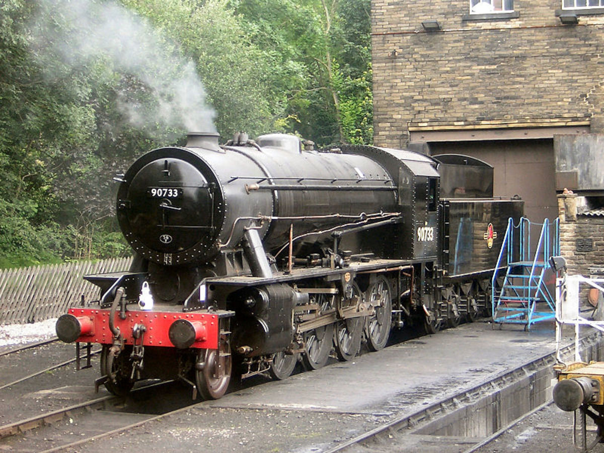 Repatriated from Sweden and overhauled, given a BR number in sequence, 90733 at Haworth shed on the Keighley & Worth Valley Railway (K&WVR) in 2007