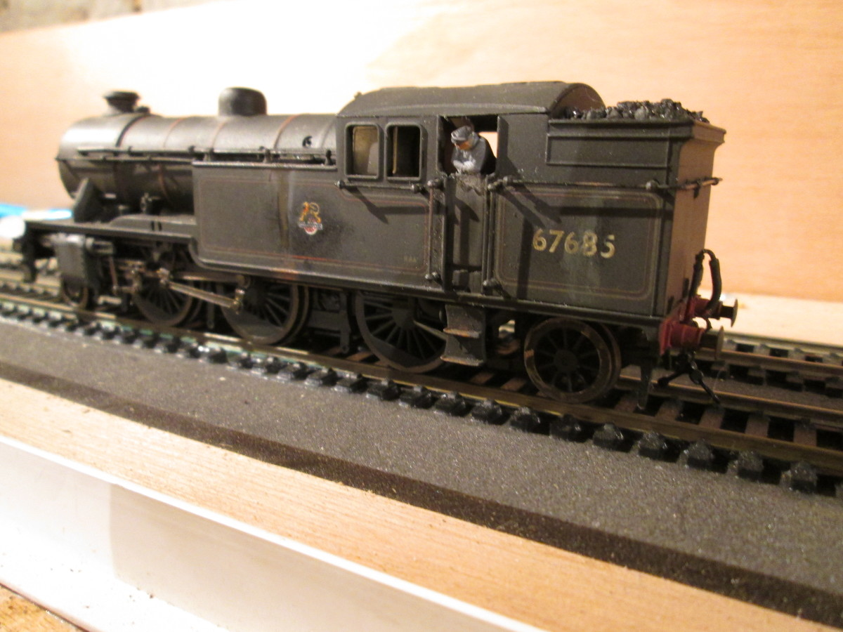 Class V3 2-6-2 tank loco 67685 stands on the Up passenger/parcels road ready to take. This is the driver's side...