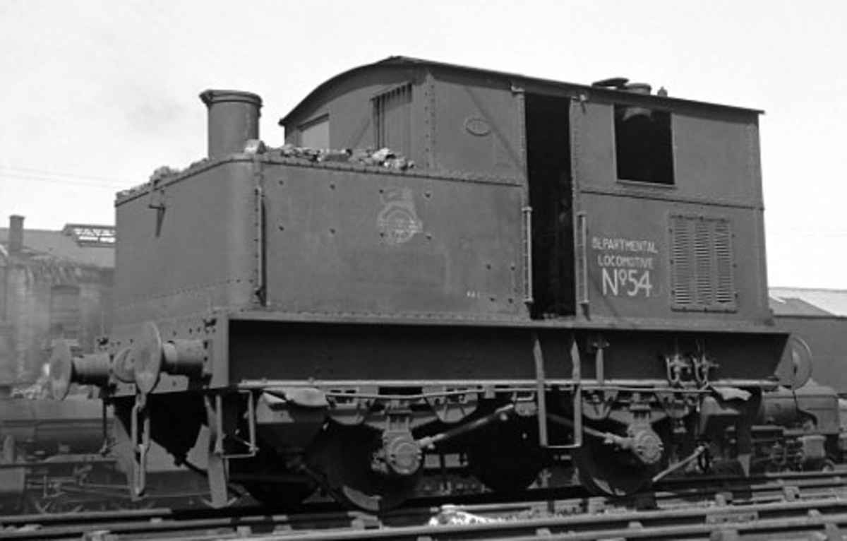 Near the end of her days in departmental - non-revenue service - is No. 54 looking a little worse for wear. These would never leave works premises, and 'potter about' shunting works wagons or moving locomotive underframes between workshops