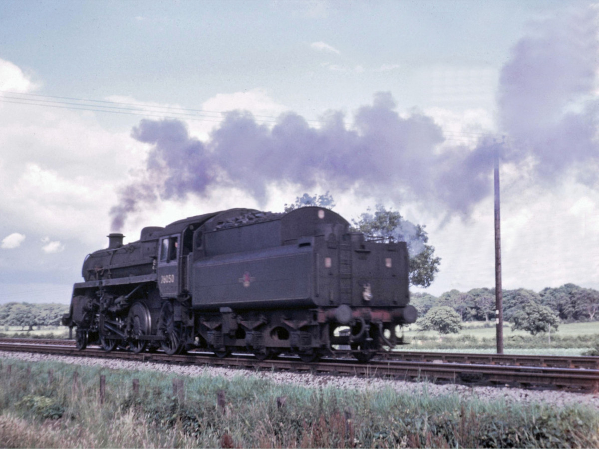 76050 runs light engine back to Hawick on the Waverley route in 1965, having been withdrawn from the North Eastern region in 1963