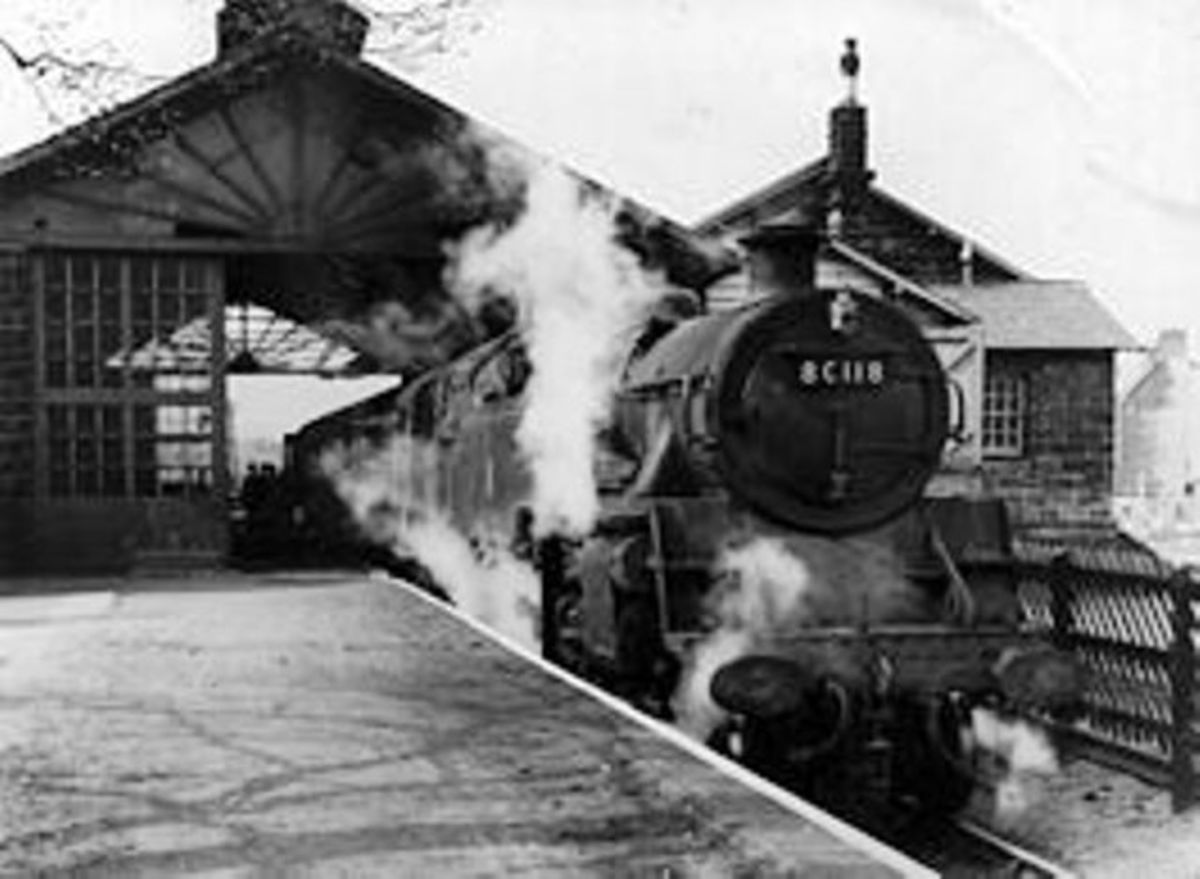 Guisborough station on the eastern side of Cleveland, North Yorkshire - B R Class 4MT 2-6-4 80118 is ready to depart for Whitby via the coast line