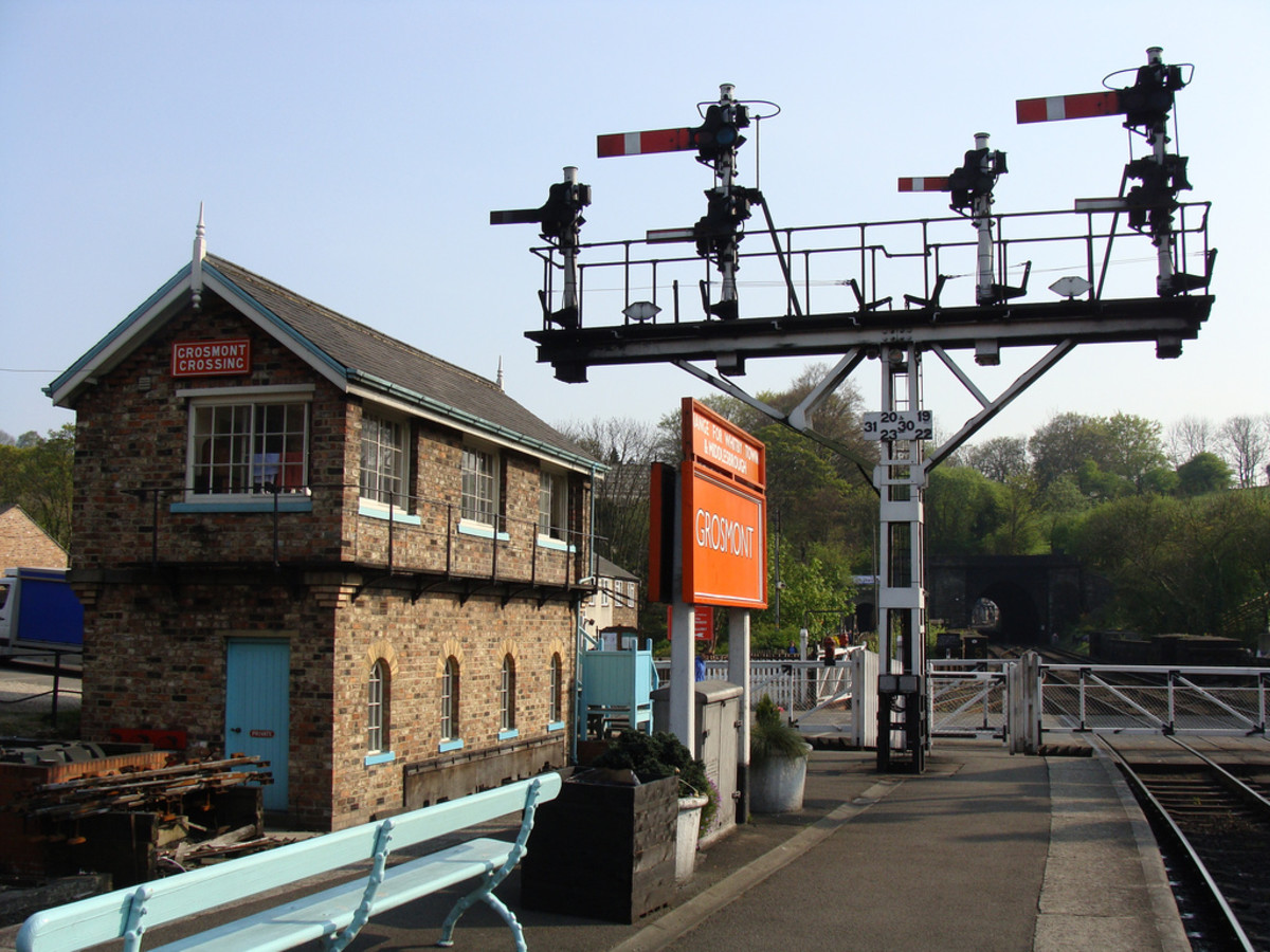 Grosmont up platform wide bracket post, later LNER vintage