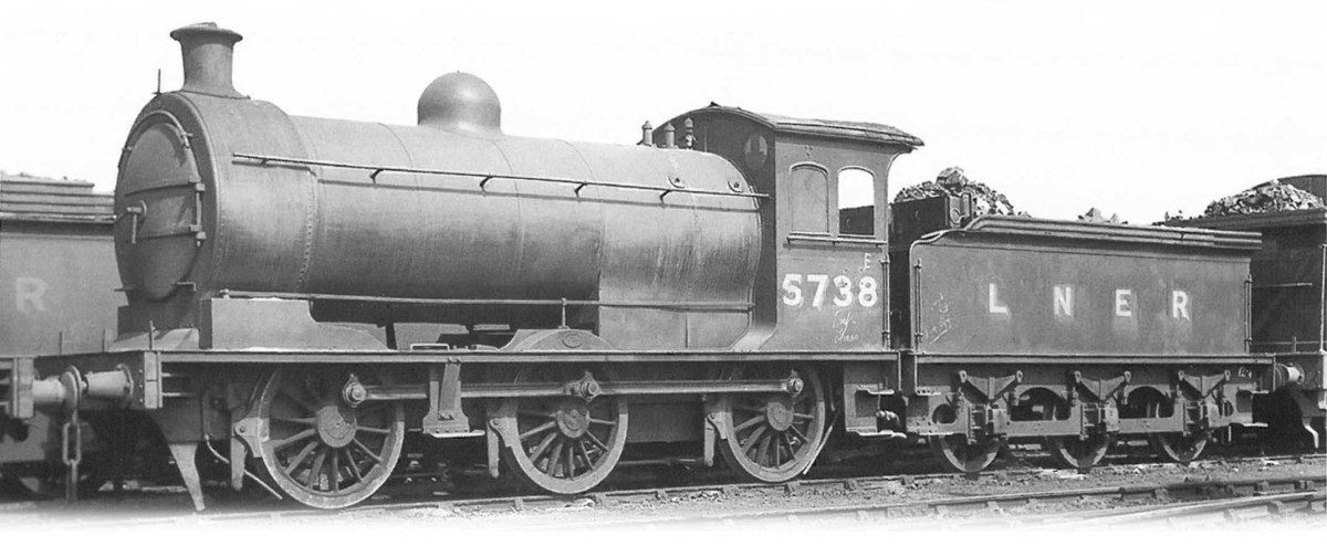 Class J26 0-6-0 5738 of North Eastern vintage in LNER days. They were spread across the former NER system as Class P2;, the LNER re-classified them as J26 and first withdrawals came in BR days in the late 50s-early 60s