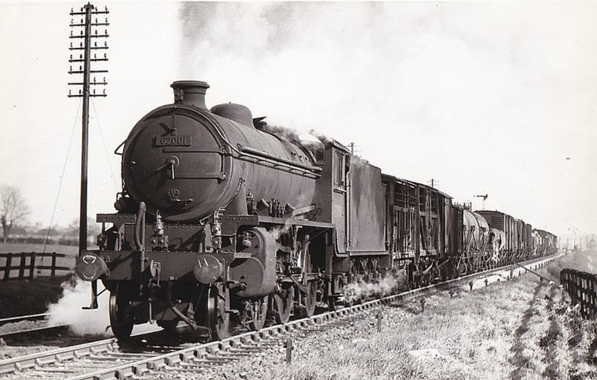 K1 62001 of 51E Stockton-on-Tees (1950-58) runs with mixed freight - location unknown