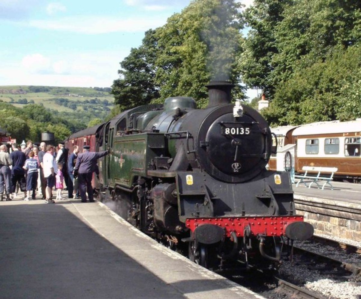 Preserved BR Standard 4 MT 60135 at Grosmont on the NYMR  late June, 2004. She was transferred to Whitby (50G) after service at Crewe late in B R steam days, avoiding the cutter's torch