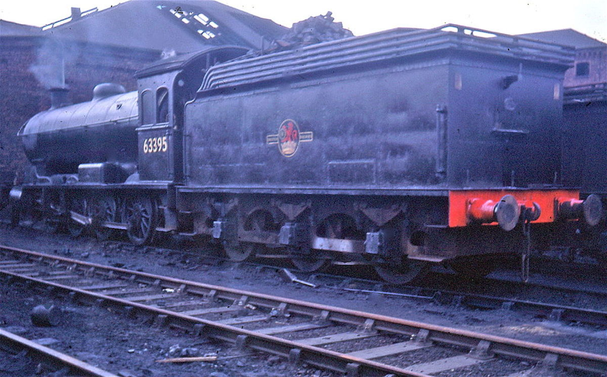 Now preserved, tried and tested, Q6 63395 rest between shifts at Sunderland shed (54A) in June, 1967 months before withdrawal and an uncertain future