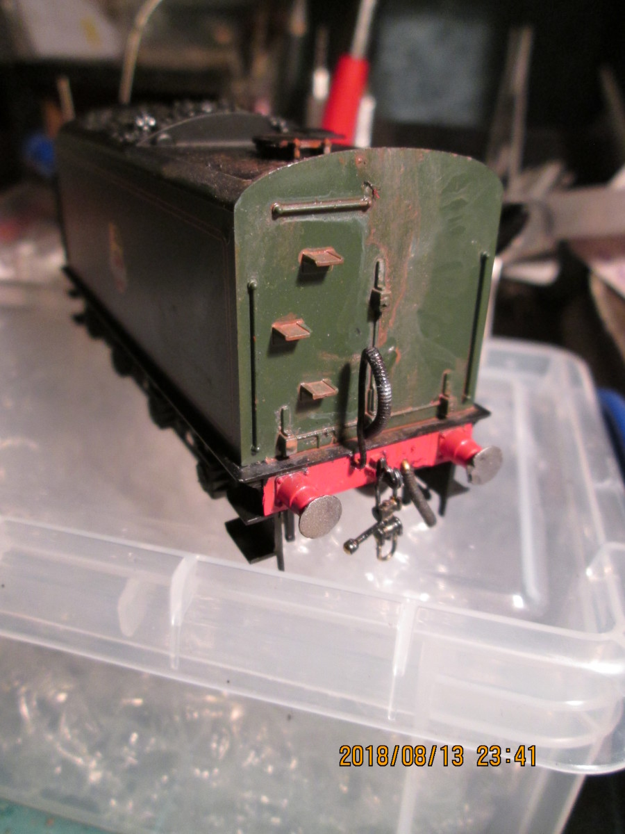 Rear view of the tender in the first stage of weathering. Where you start is your choice. The aim of the game is a passable reproduction of an engine that's been in service for a while and due for overhaul at North Road Works (Darlington, Co. Durham)