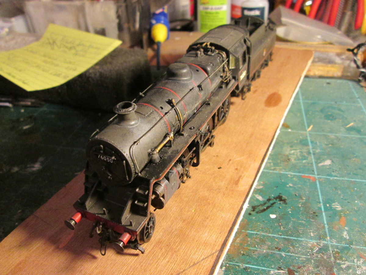 76050 again, seen from above front - the model's been weathered lightly to resemble a locomotive that's seen some use on freight as well as passenger traffic