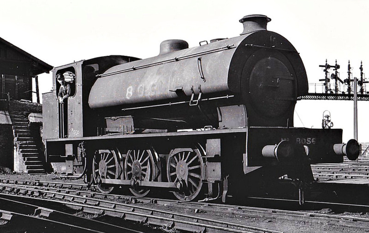 In late LNER days, J94 8056 at West Hartlepool shed (51C in BRNE days) near the loco coaling stage - left rear (no handrail - imagine climbing up those steps on a windy day with a shovel over your shoulders!)