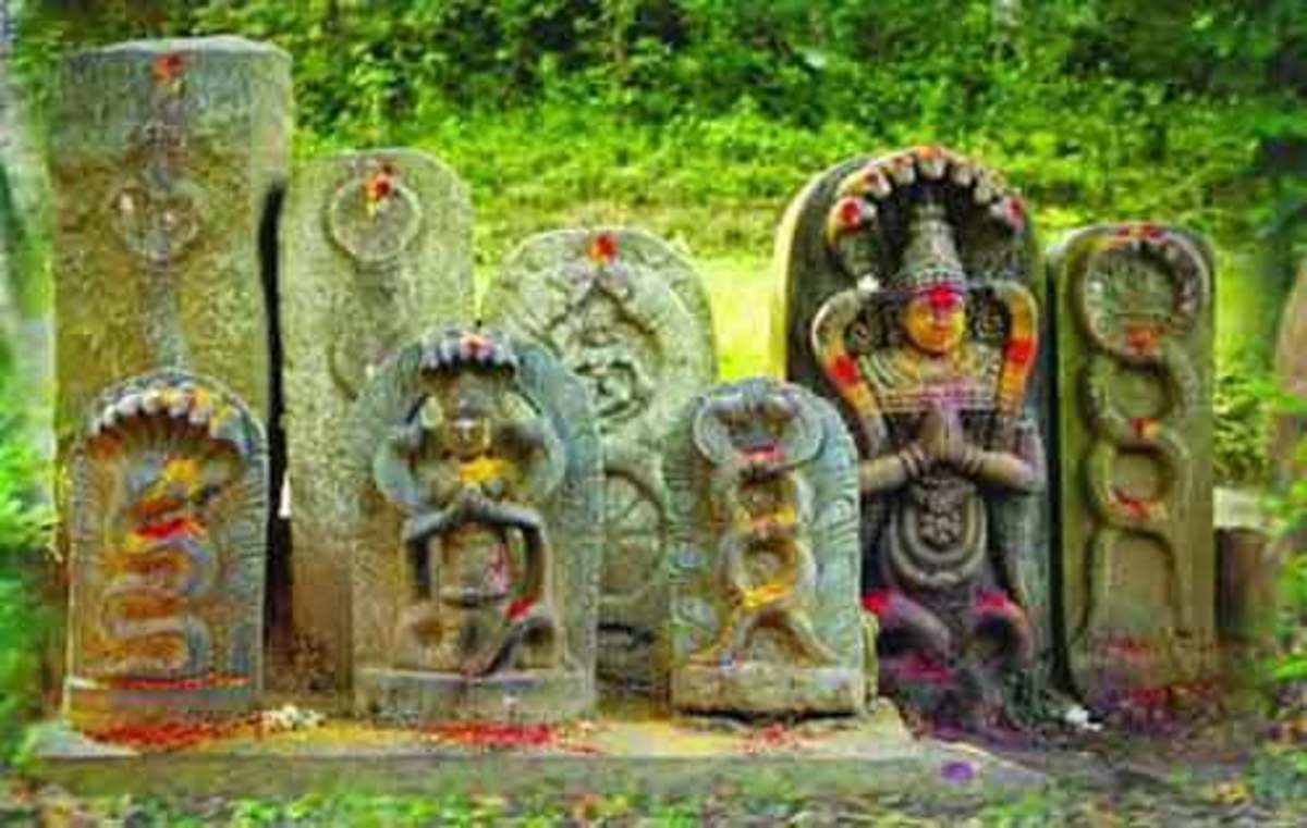 Stone tablets depicting snakes under a peepal tree