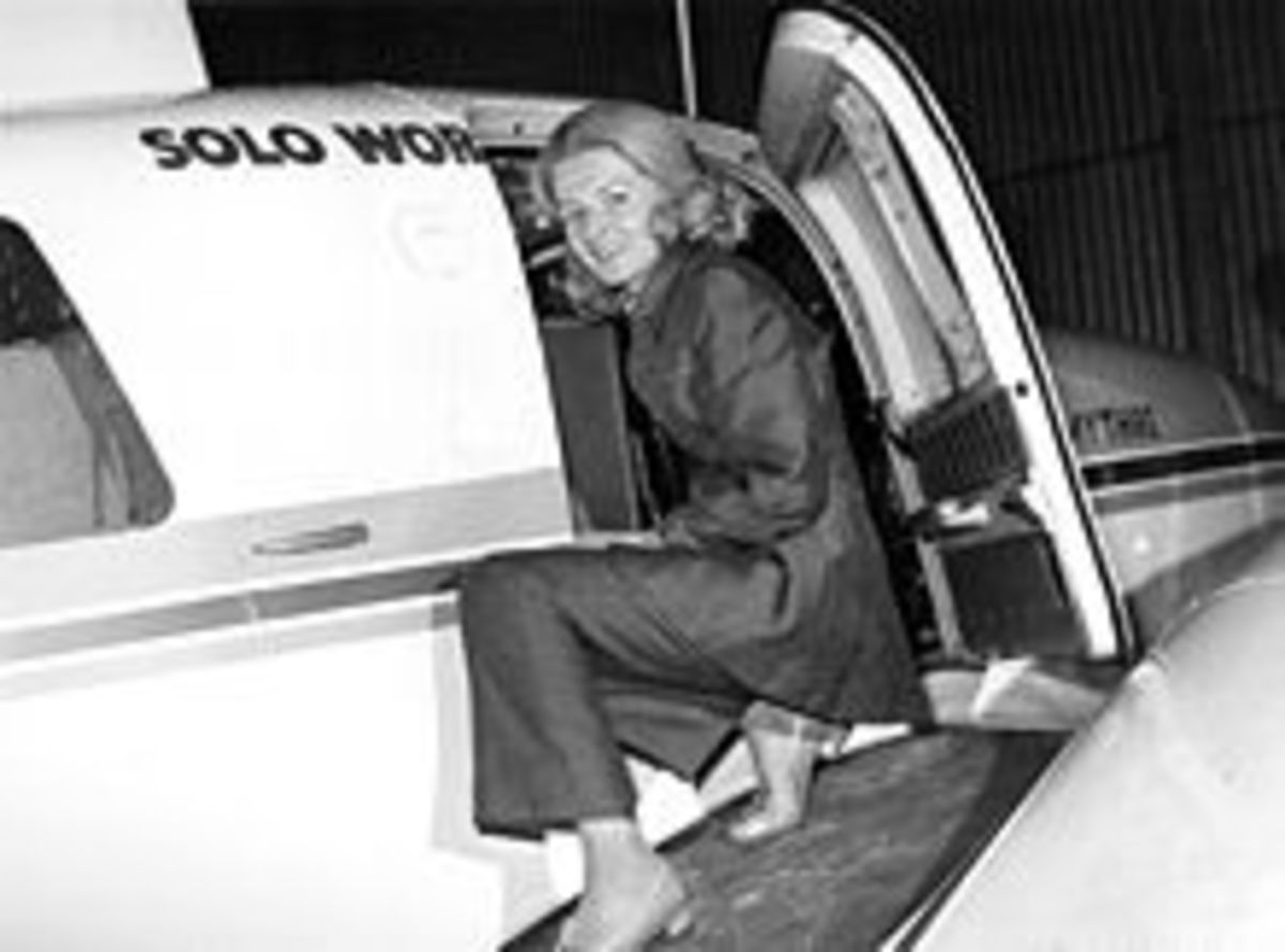 Picture taken before her 1971 record-breaking trip. Born 27 April 1922 at Worcester, England; died 20 October 1988 (aged 66) in London, England.  Nationality: United Kingdom Known for aviatrix