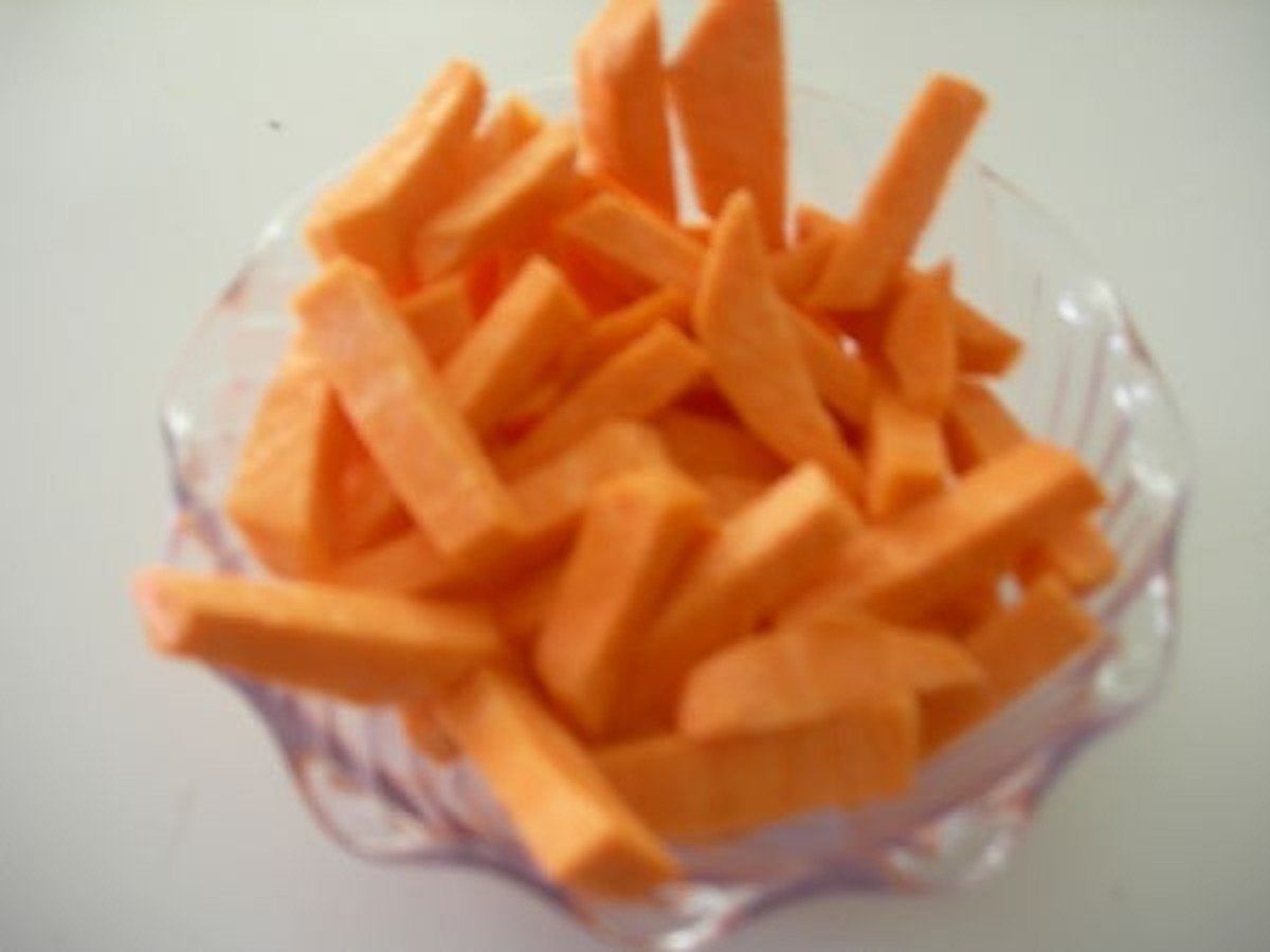 Cut your sweet potatoes up just like french fries.