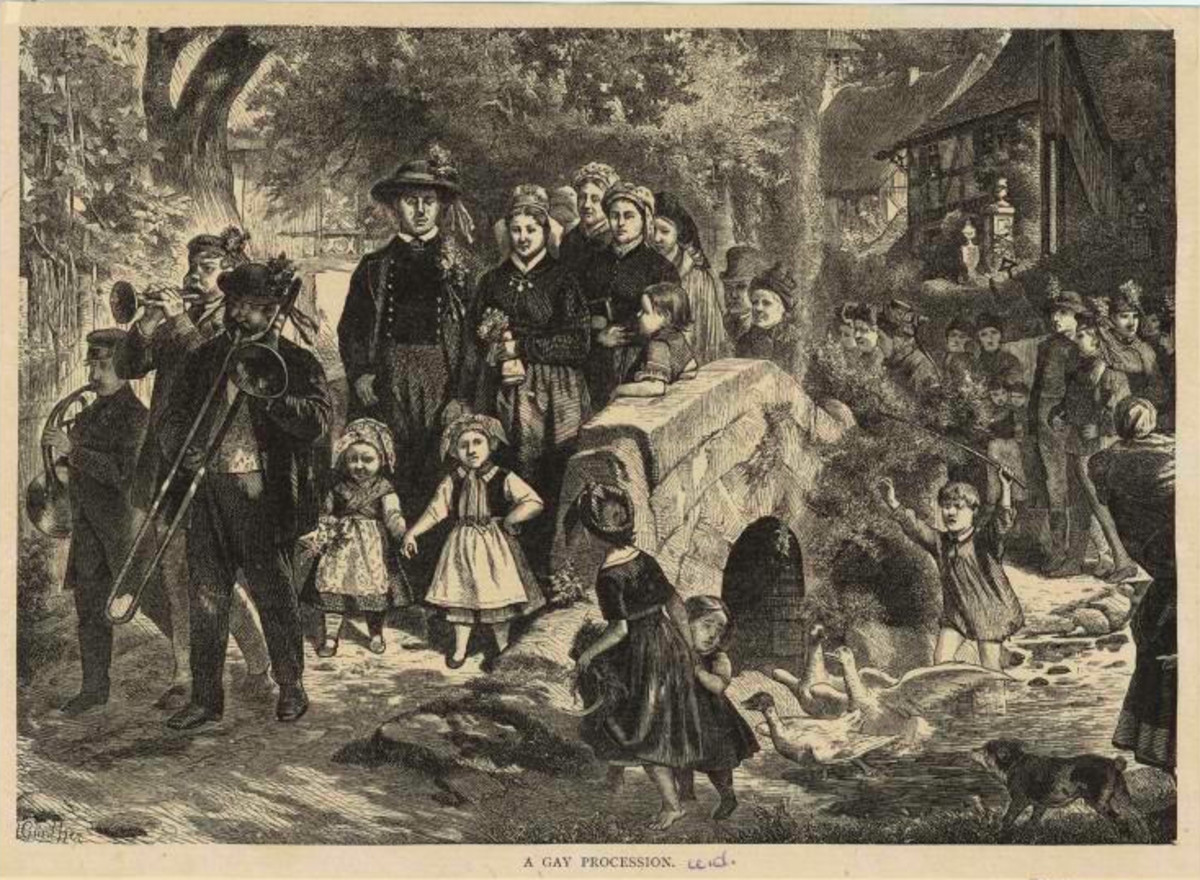 Wood engraving by Gunther, c. 1885, depicting a brass trio leading a Norwegian procession.