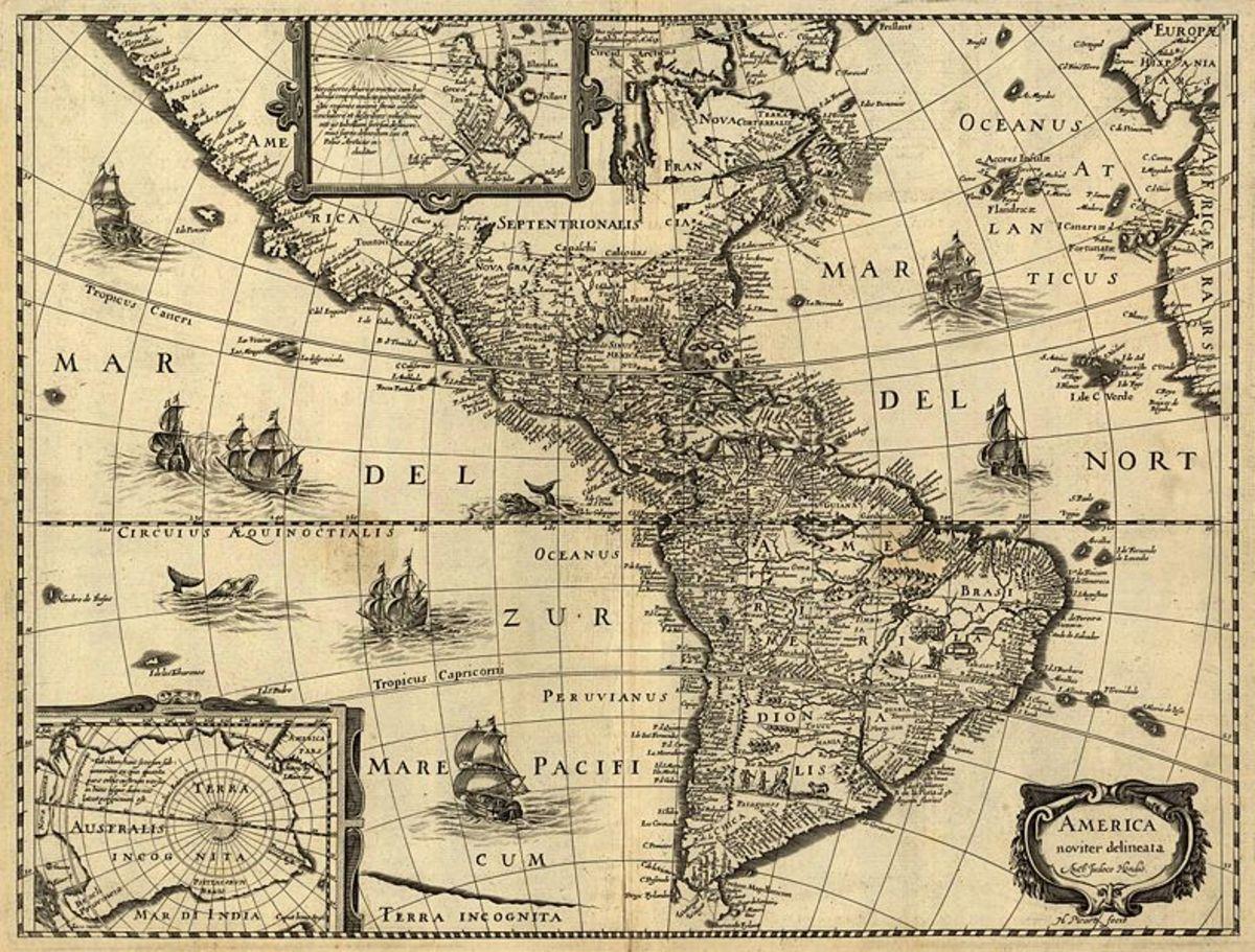 Map of the Americas by Jodocus Hondius, c. 1640