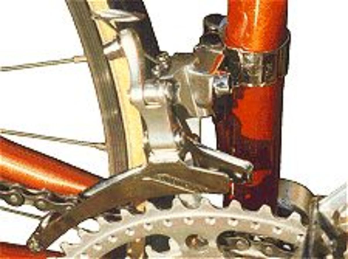 Closeup view of the front changer bracket