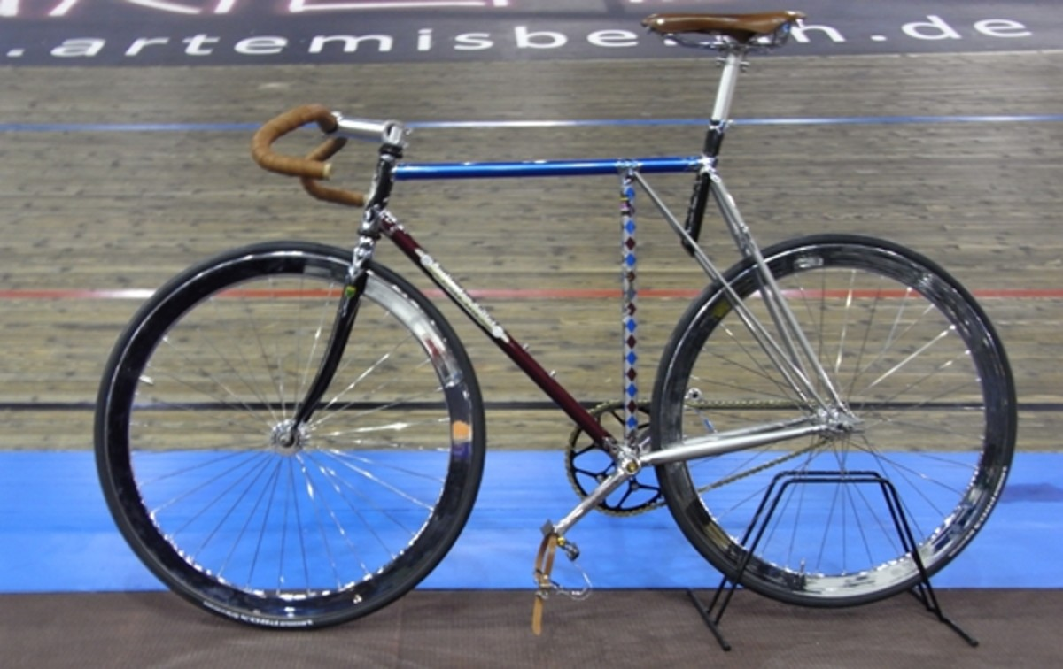 The Flying Gate Frame on a Track Bicycle - as you can see, T. J. Cycles do not just build touring bicycles!