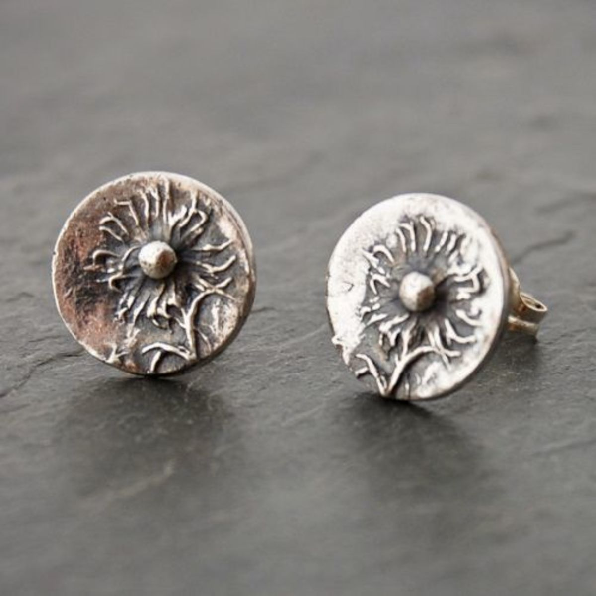 Sterling silver stud prairie wildflower earrings by gayle dowell