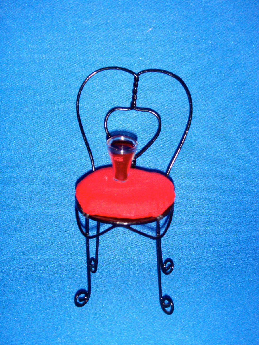 Coca Cola Madame Alexander Style - Cafe Black Wire Chair with Glass Bottle of Coca Cola