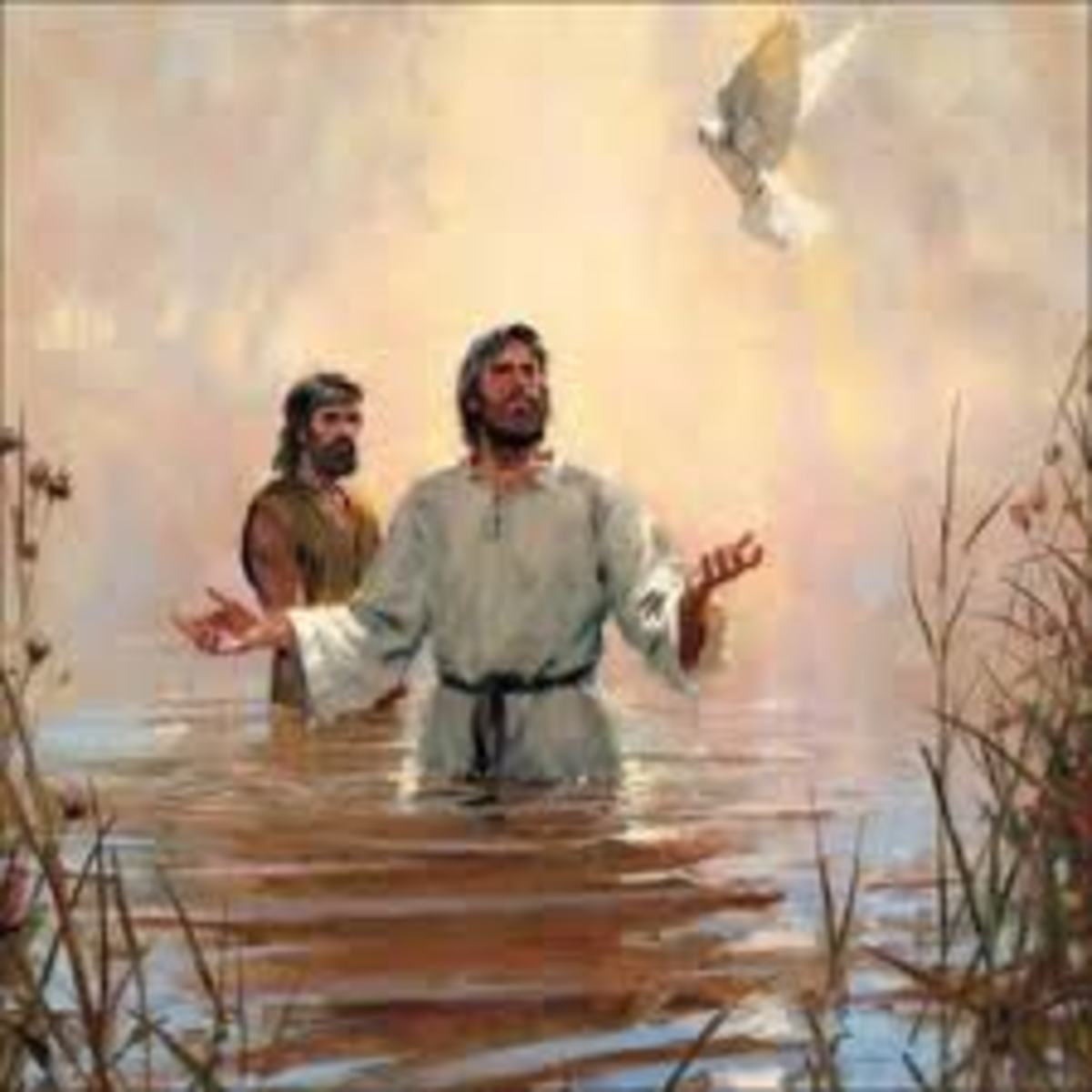 The Baptism of Christ, where the dove comes down out of the torn skies and God speaks of his pleasure in the life of Christ.