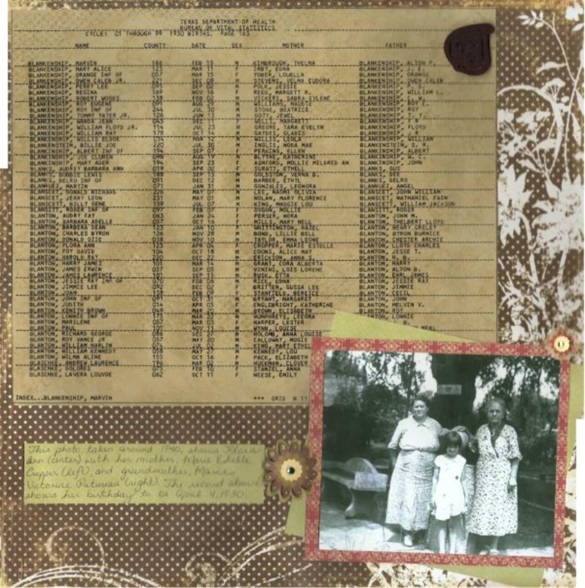 "Ancestry.com is a wonderful tool to use while creating a ""Heritage"" album. I printed old census, military, and birth records on distressed paper to match my color scheme."