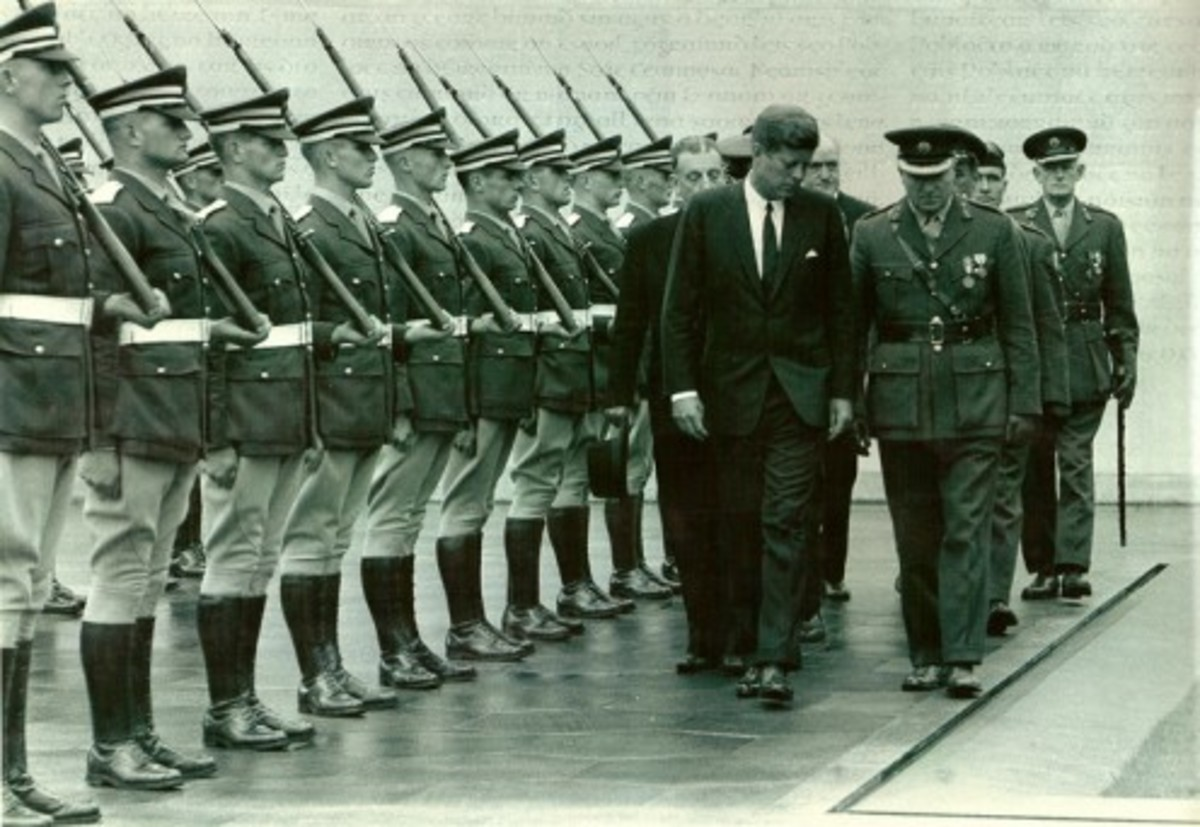 President John F Kennedy lays a wreath in 1963 in memory of the 14 men buried at Arbour Hill