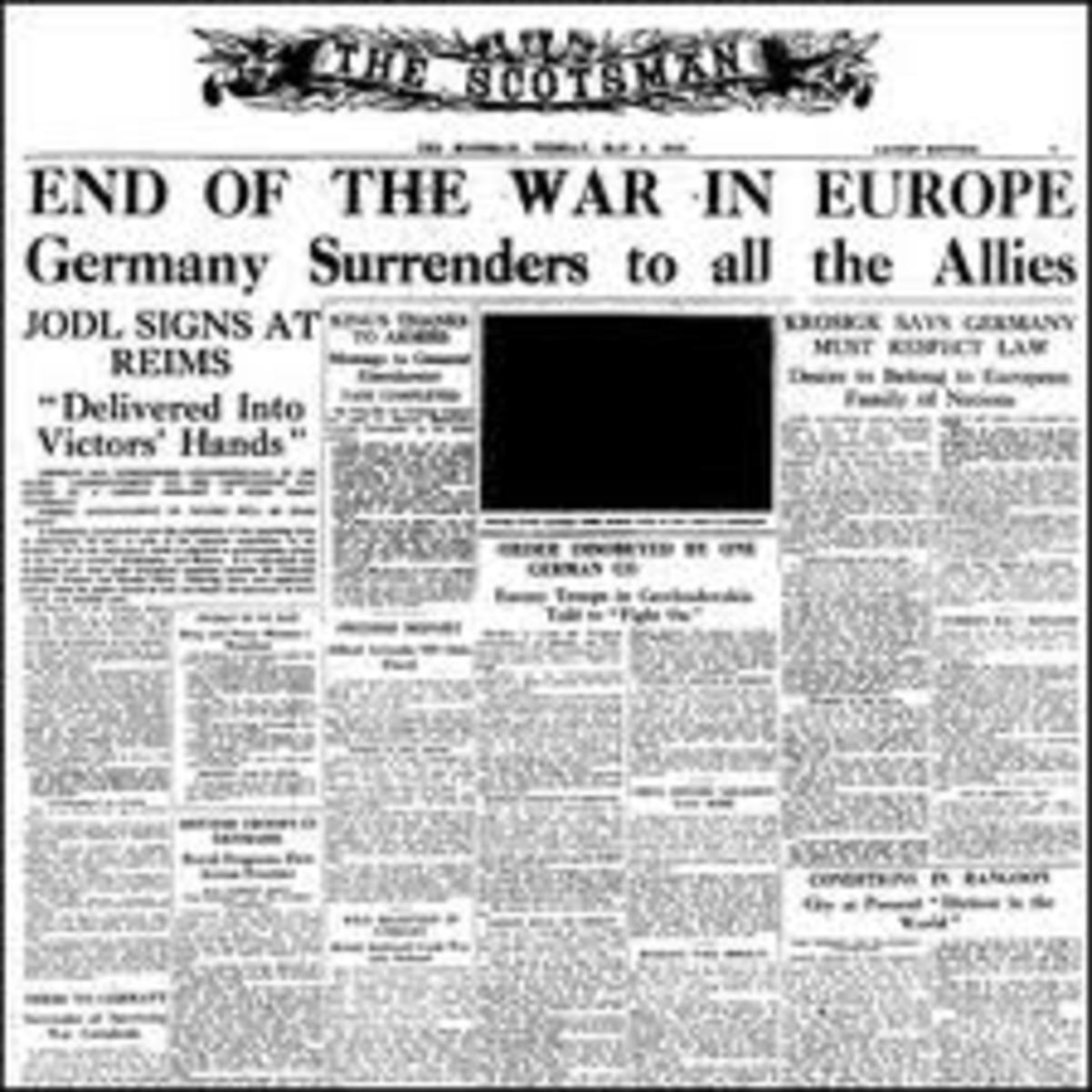 V-E DAY, THE END OF WW II