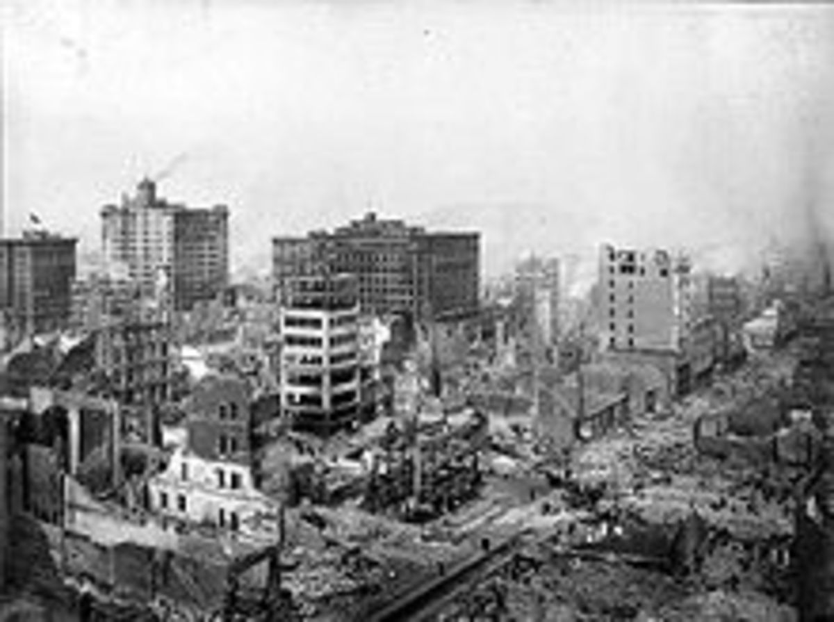 SCENE FROM THE APRIL 1906 SAN FRANCISCO EARTHQUAKE