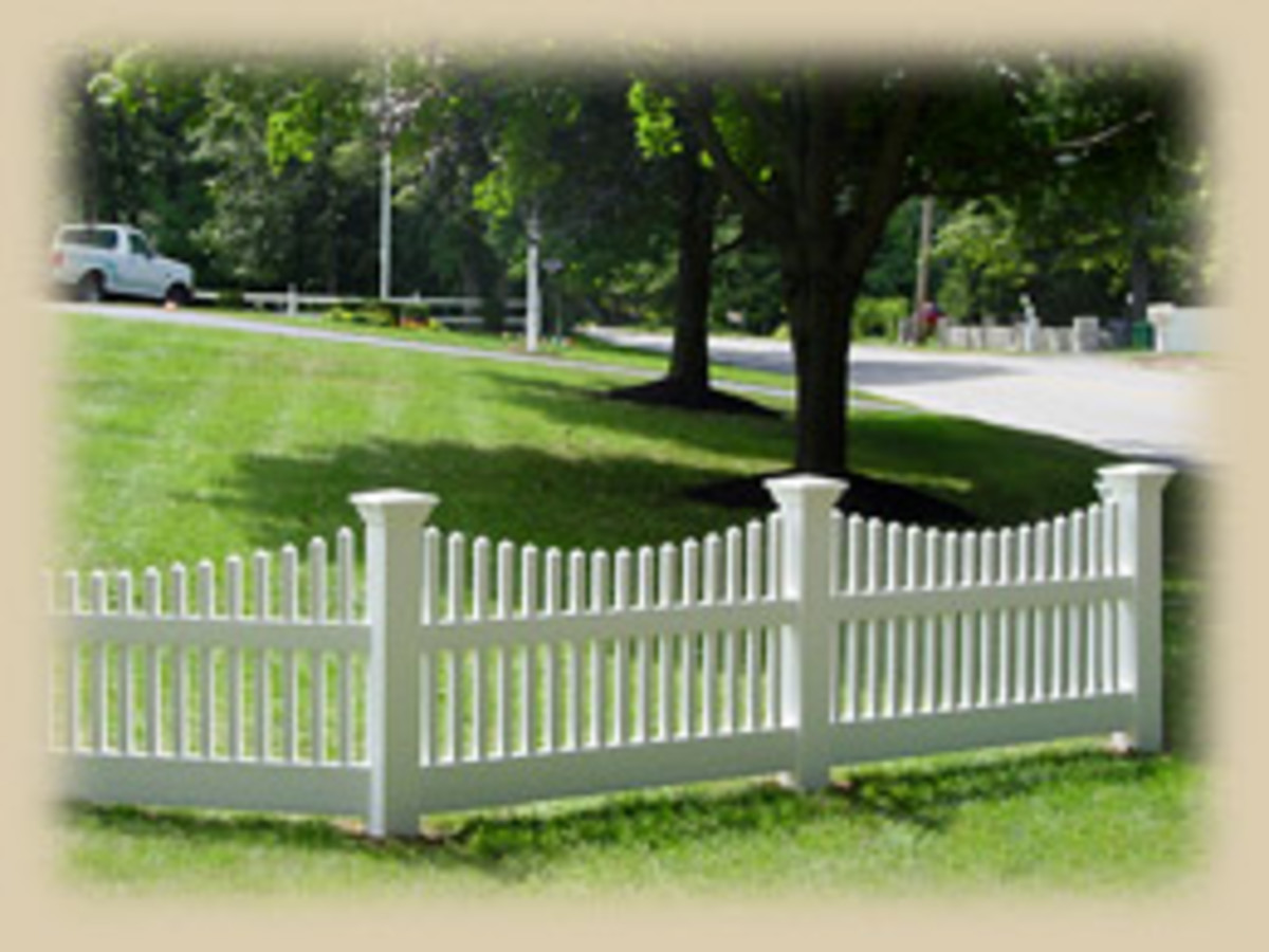 Home Remodeling Improvement Scalloped White Picket Fence - Vinyl Too - Great Design Ideas