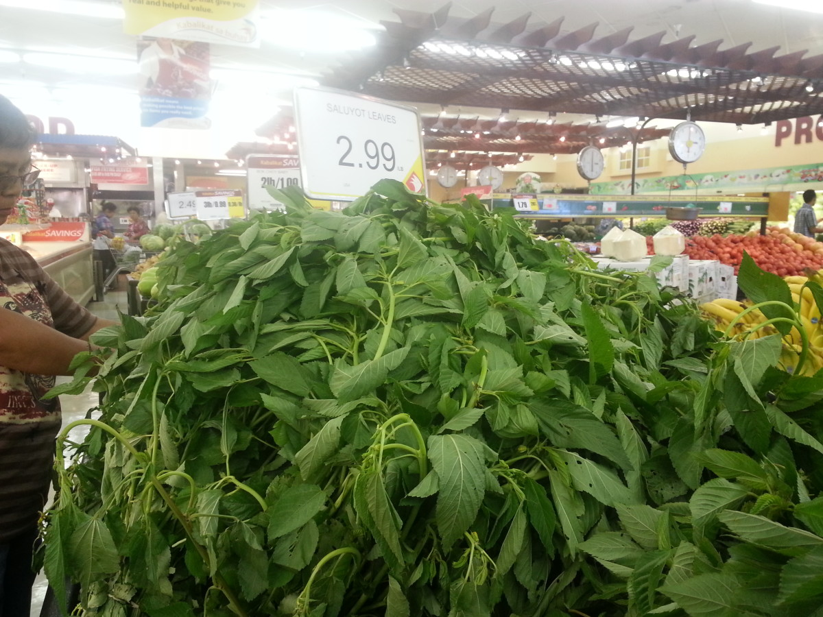 Saluyot or jute mallow leaves sold in bundles.