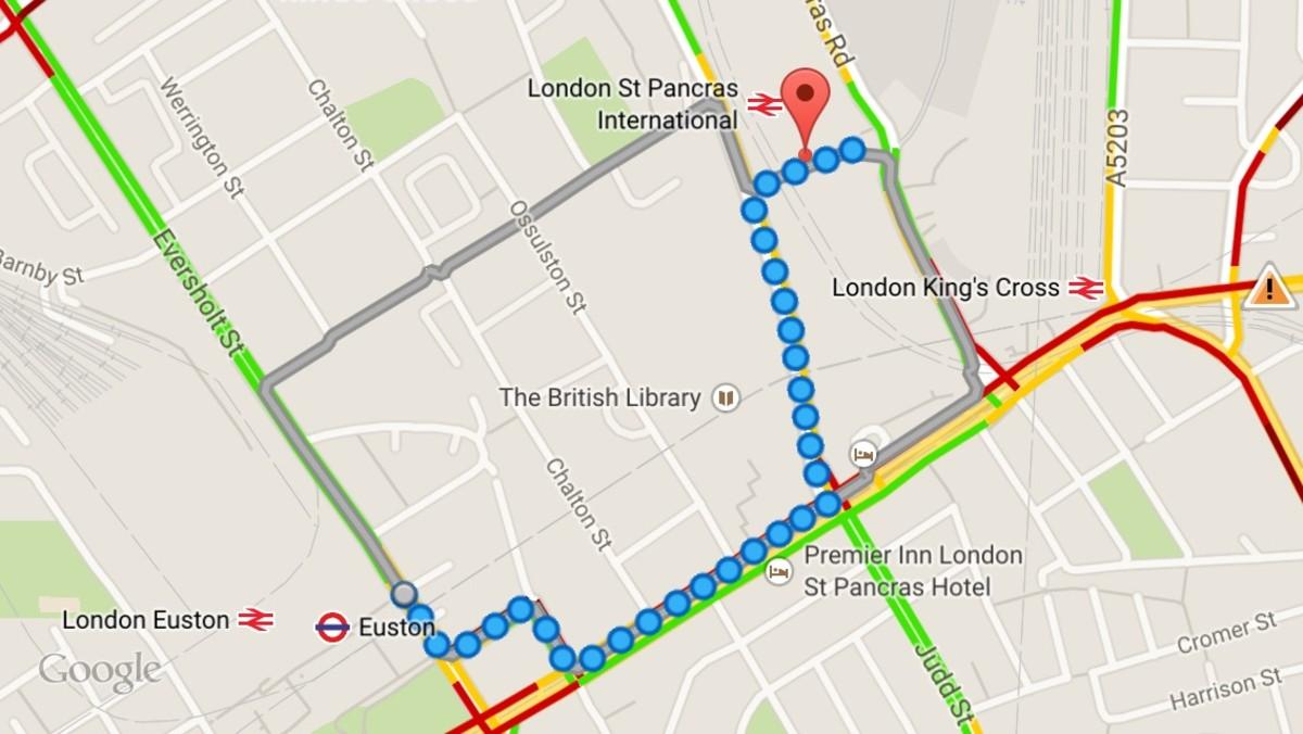 Euston Station to St Pancras International Station walking directions