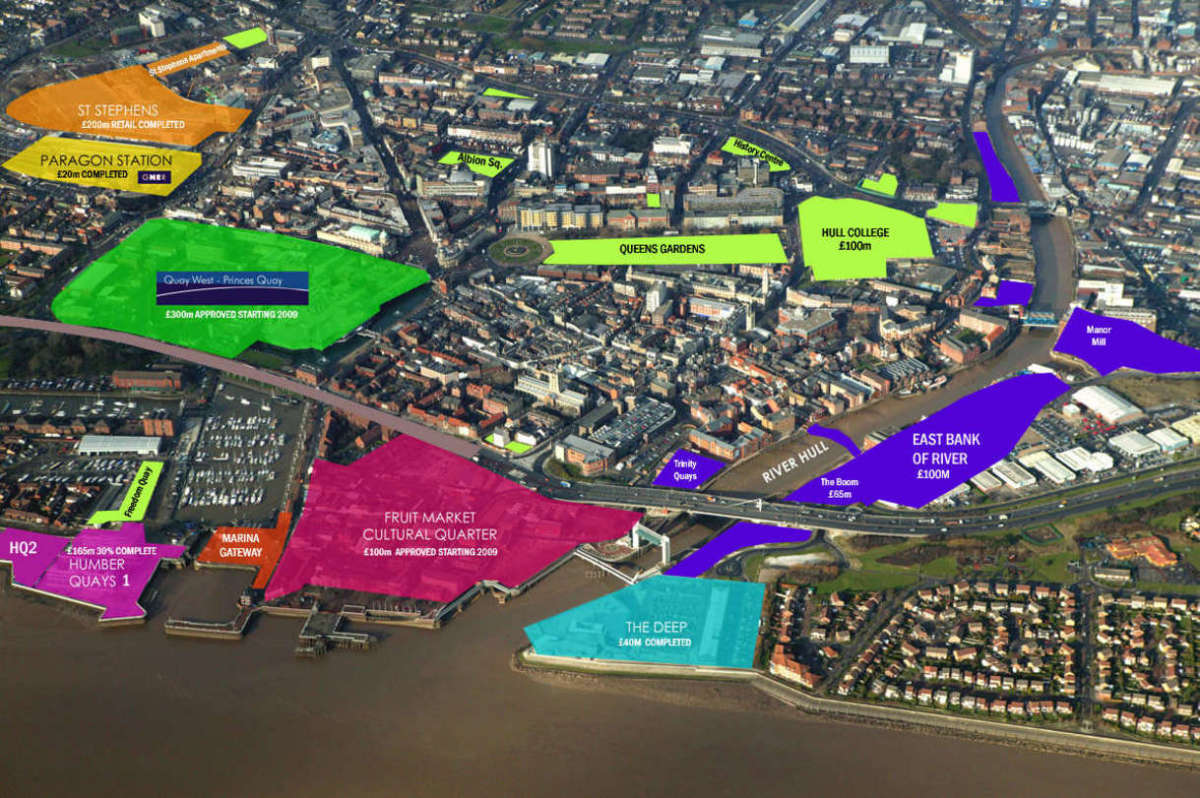Bird's eye view of some of the developments in Hull City Centre