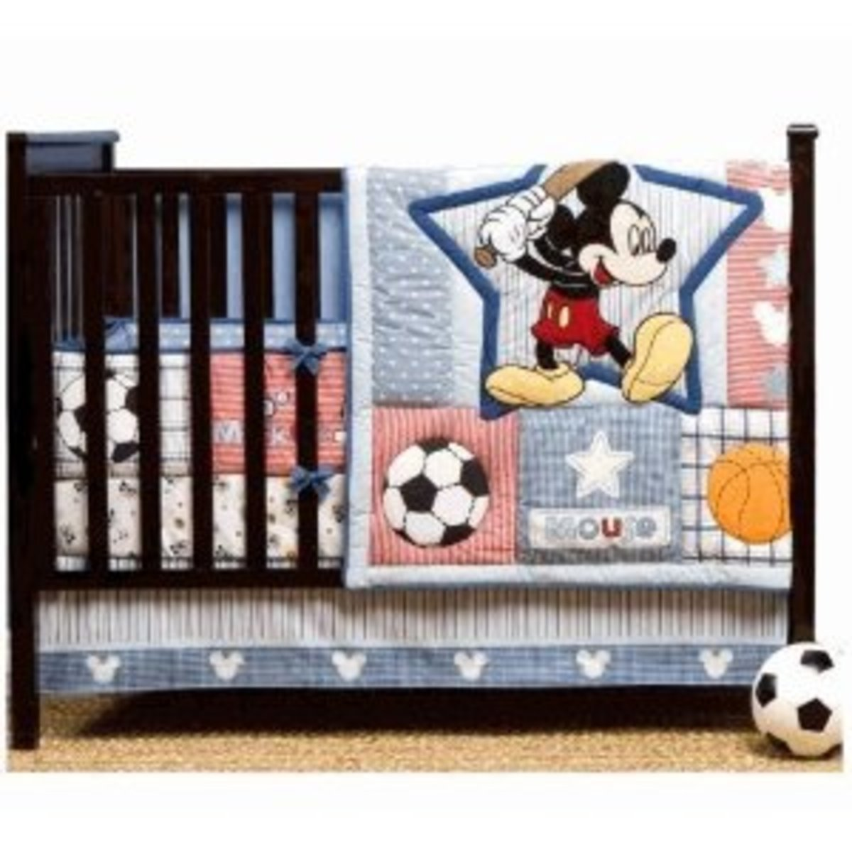 Up to Bat Disney Baby 4 Piece Mickey Mouse Crib Bedding Set available at a great price from Amazon.com