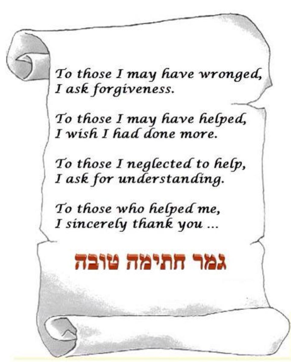 To those I have wronged, I ask forgivness. To those I have helped, I wish I had done more. To those I have neglected to help, I ask for understanding.  To those who helped me, I sincerely thank you... Shabbat Shalom and Gmar Chatima Tova. May we all