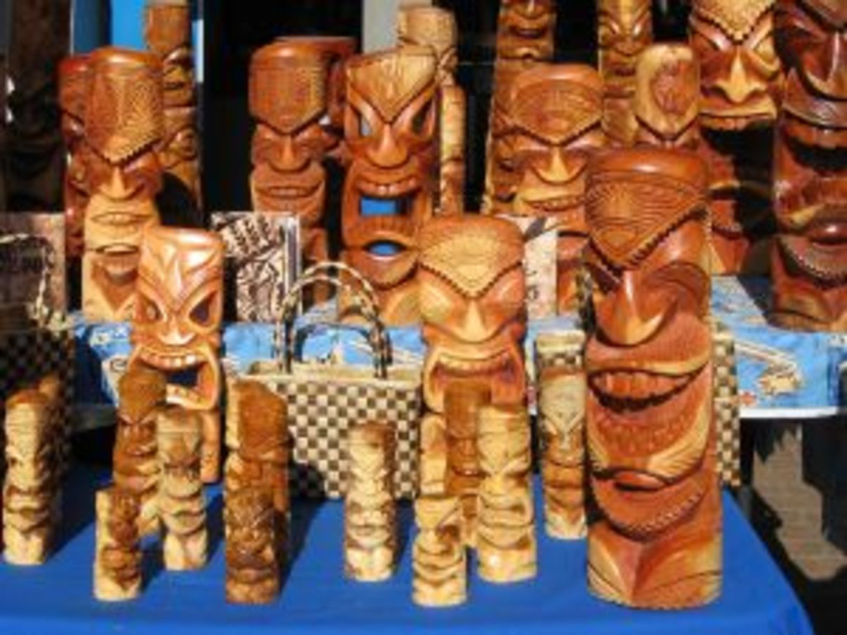 Hand Carved Tiki Mugs