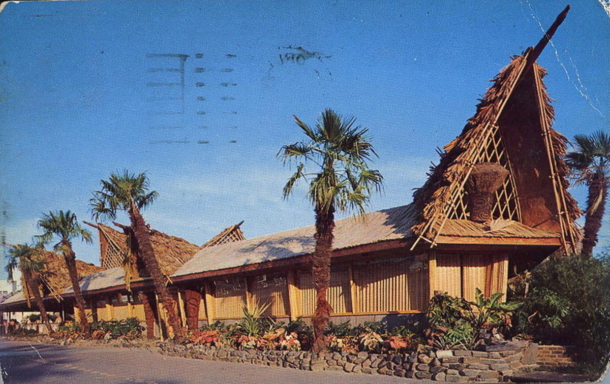 Similar in construction to the Kahiki Supper Club, this is a postcard of the Bali Ha'i Restaurant in the 1950s (public domain). The Kahiki appears in the video below.